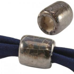 DQ Griekse keramiek kralen tube Grijs-wit