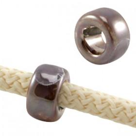 DQ Griekse keramiek kralen ring Smoked Topaz-Bruin