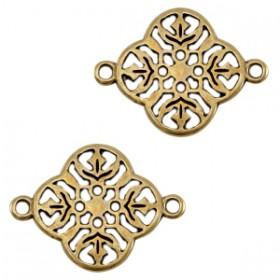 DQ metalen tussenstuk barok klaver Antiek brons (nikkelvrij)