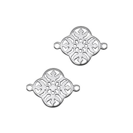 DQ metalen tussenstuk barok klaver Antiek zilver (nikkelvrij)