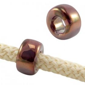 DQ Griekse keramiek kralen ring Aubergine paars - rose gold