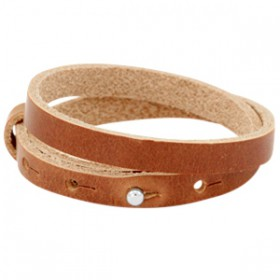 Cuoio armbanden leer 8 mm dubbel voor 12 mm cabochon Dark cognac brown