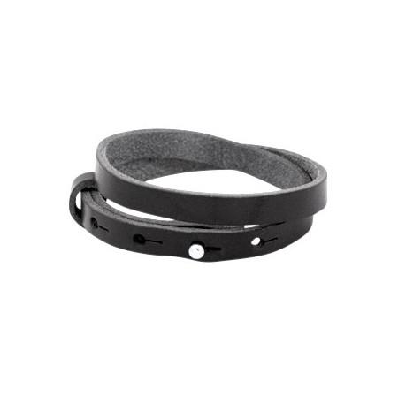 Cuoio armbanden leer 8 mm dubbel voor 12 mm cabochon Diep zwart