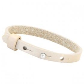 Cuoio armbanden leer 8 mm voor 12 mm cabochon Cream ivory beige