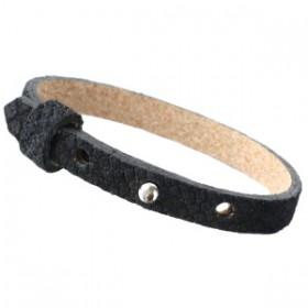Cuoio armbanden leer Reptile 8 mm voor 12 mm cabochon Black