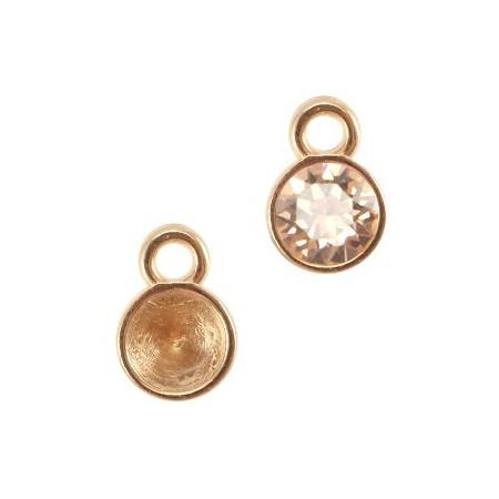 DQ hanger/setting voor SS24 puntsteen 1 oog Rosé goud (nikkelvrij)