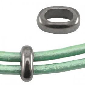 DQ metaal dichte ovalen ring 8x6mm Antraciet