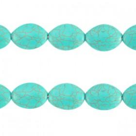 Keramiek turquoise kralen ovaal 16x12mm Turquoise blue