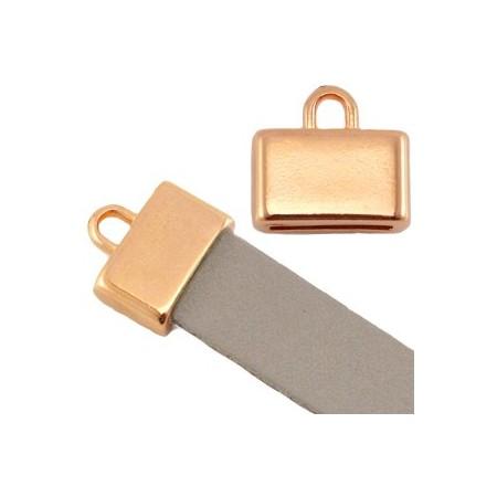 DQ metaal eindkap vierkant met oog (voor DQ leer plat 10mm) Rosé goud (nikkelvrij)