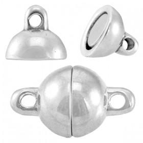 DQ metalen magneetslot ball 8mm Antiek zilver (nikkelvrij)