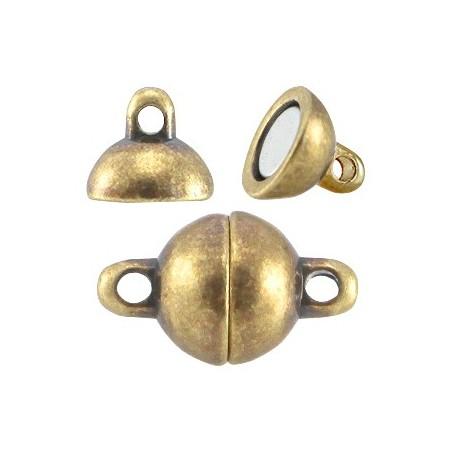 DQ metalen magneetslot ball 8mm Antiek brons (nikkelvrij)