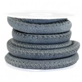Gestikt nappa leer eco faux 6mm Denim blue