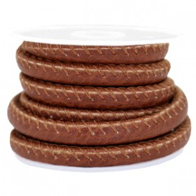 Gestikt nappa leer eco faux 6mm Roast brown