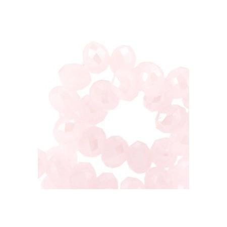 Facet kralen 4x3mm disc Light rose opal - Diamond coating