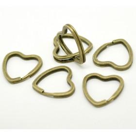 Sleutelhanger ring hart Antiek brons