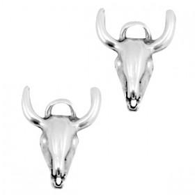 DQ metalen bedel/tussenstuk buffelkop Antiek zilver (nikkelvrij)