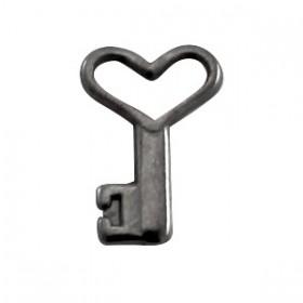 DQ metal bedel sleutel Zilver antraciet ( nikkelvrij )
