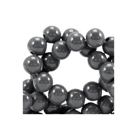 Glaskraal 6 mm opaque Donker grijs