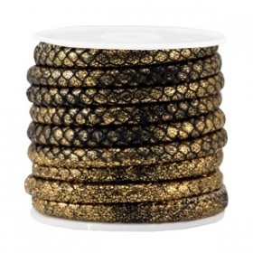 Gestikt imitatie leer 6x4mm reptile Black metallic goud