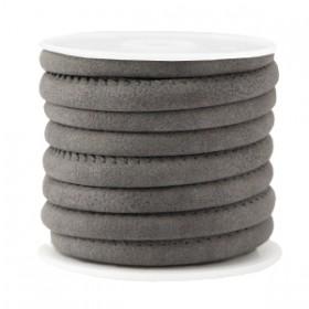 Gestikt imitatie leer 6x4mm Vintage dark grey