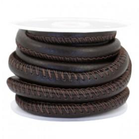 Gestikt nappa leer eco faux 6mm Coffee brown