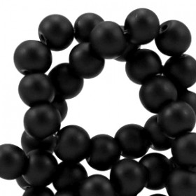 8 mm glaskralen full mat Zwart