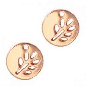 Bedeltje DQ rond met bladmotief Rosé goud (nikkelvrij)