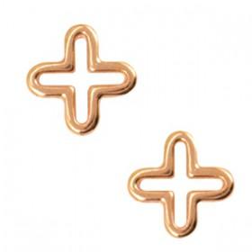 Bedeltje DQ kruis Rosé goud (nikkelvrij)