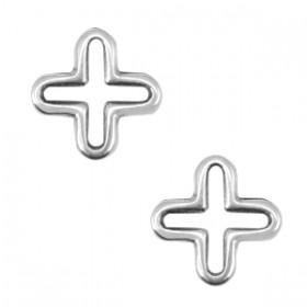 Bedeltje DQ open kruis Antiek zilver (nikkelvrij)