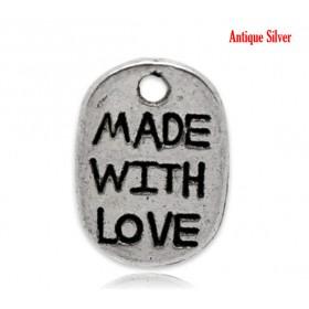 """Bedeltje ovaal """"Made with Love"""" Antiek zilver"""