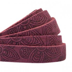 DQ leer met mandala print plat 10mm Light aubergine red