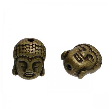Metaal kraal Buddha hoofd Antiek brons