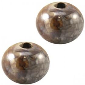 griekse keramiek kraal 12mm Grijs wit