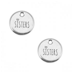 Bedeltje DQ 12mm rond sisters Antiek zilver (nikkelvrij)