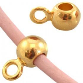DQ Ring met oog voor 2mm leer Goud ( nikkelvrij )