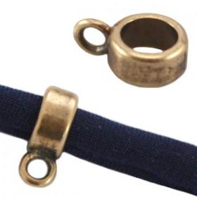 DQ Ring met oog voor 5mm leer Antiek brons ( Nikkelvrij )