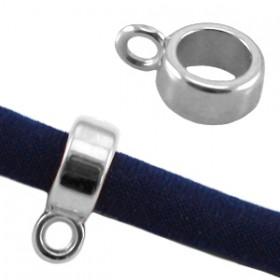 DQ Ring met oog voor 5mm leer Antiek zilver ( Nikkelvrij )