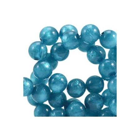 Polaris kralen rond 8mm pearl shine Mosaic blue