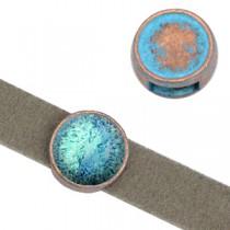 DQ schuiver setting Koper blue patina voor 12mm cabochon