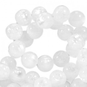 Polaris kralen mat rond 8 mm pearl shine White