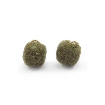 Pompom 1.5cm met oog Olive green