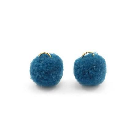 Pompom 1.5cm met gouden oog Cerulean blue