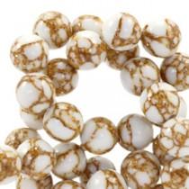 Natuursteen ronde kralen 8mm glitterline White-gold