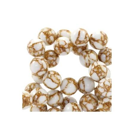 Natuursteen ronde kralen 6mm glitterline White-gold