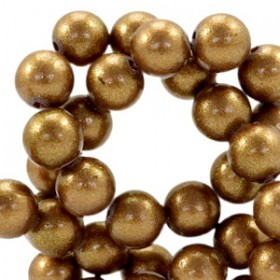 Glaskraal pearl Golden brown 8mm