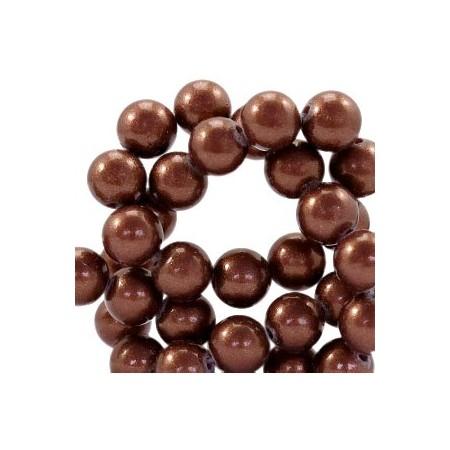 Glaskraal pearl Dark brown 8mm