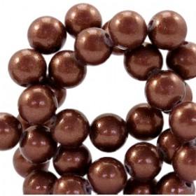 Glaskraal pearl Dark brown 6mm