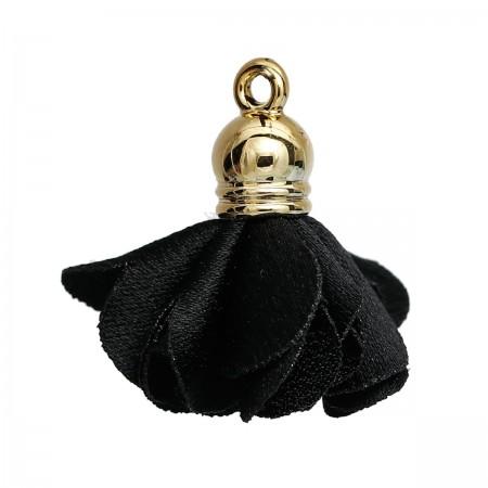 Tassel Flower met gold plated ring Black
