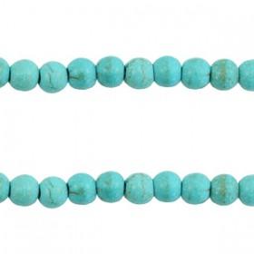Keramiek turquoise kralen rond 4mm Turquoise blue