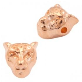 Kralen DQ metaal luipaardkop Rosé goud (nikkelvrij)